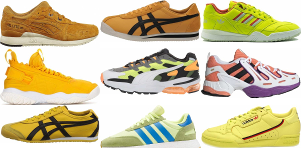 buy yellow leather sneakers for men and women