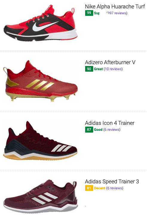 best red baseball cleats