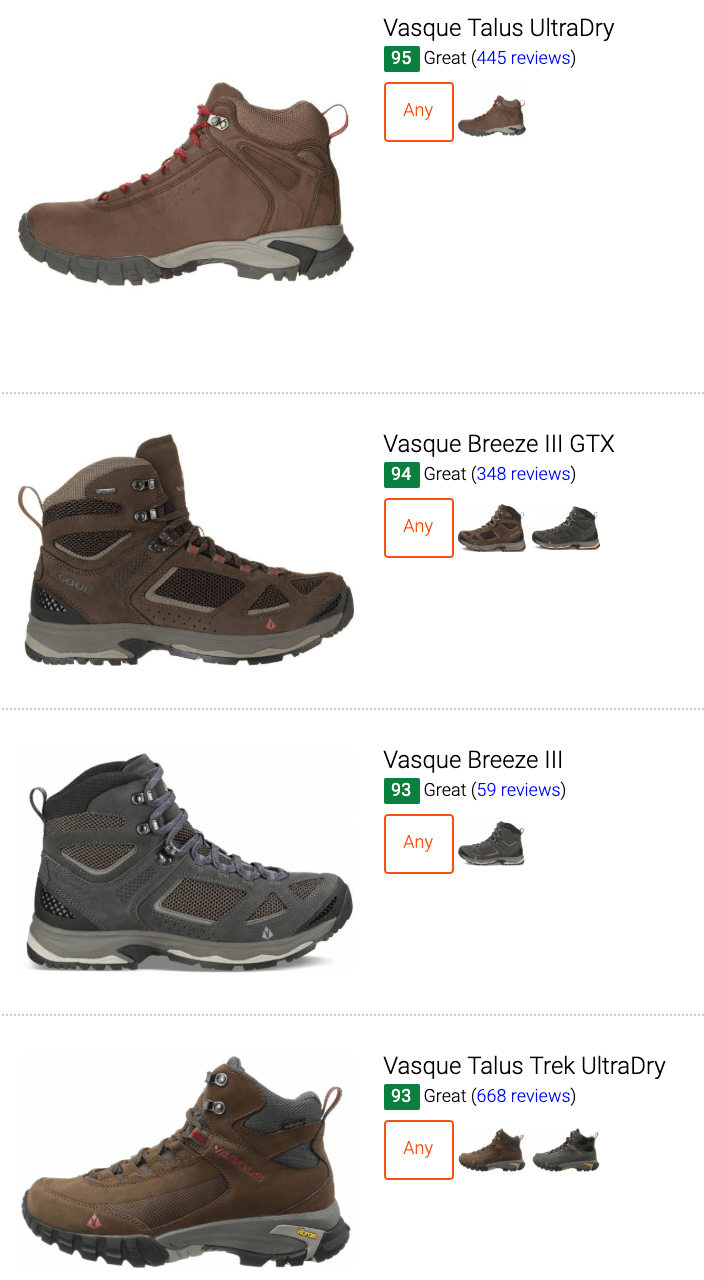 best Vasque leather hiking boots
