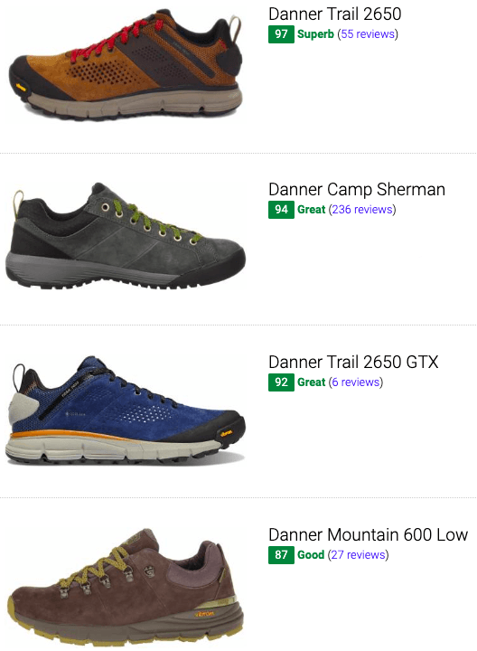 best danner hiking shoes