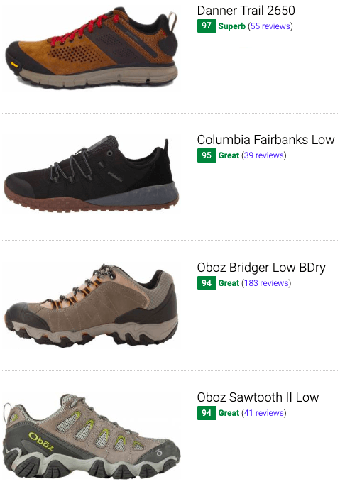 best leather hiking shoes