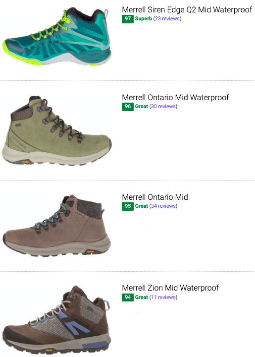 best merrell hking boots