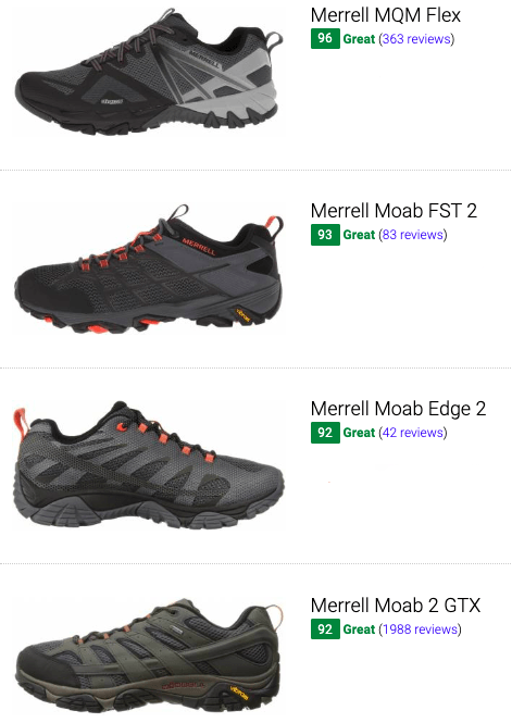 best merrell hiking shoes