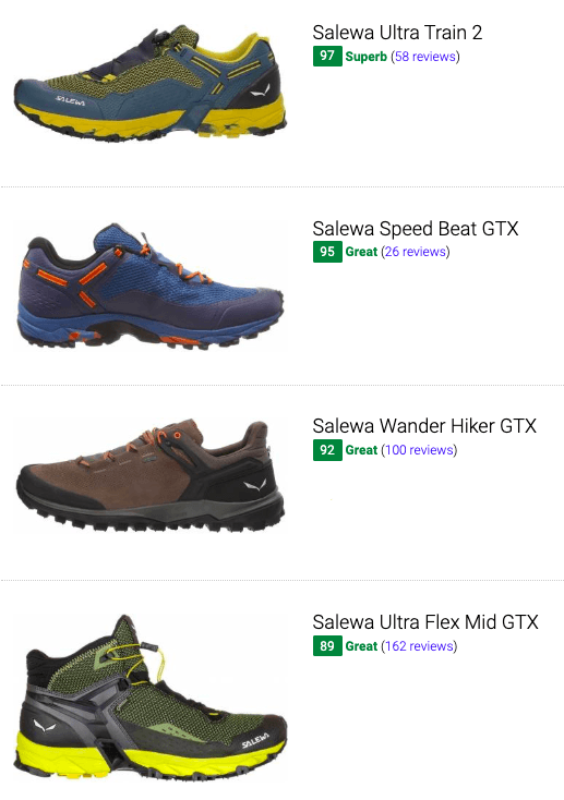 best salewa hiking shoes