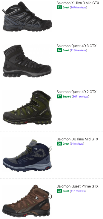 best salomon goretex hiking boots