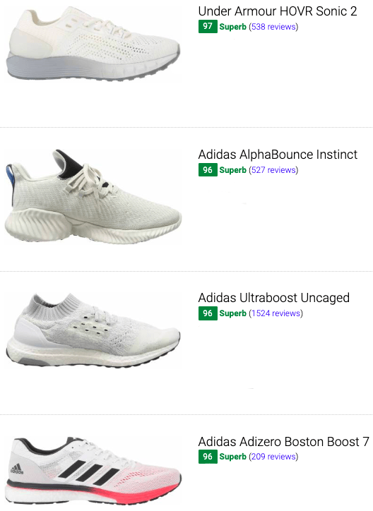 best white running shoes