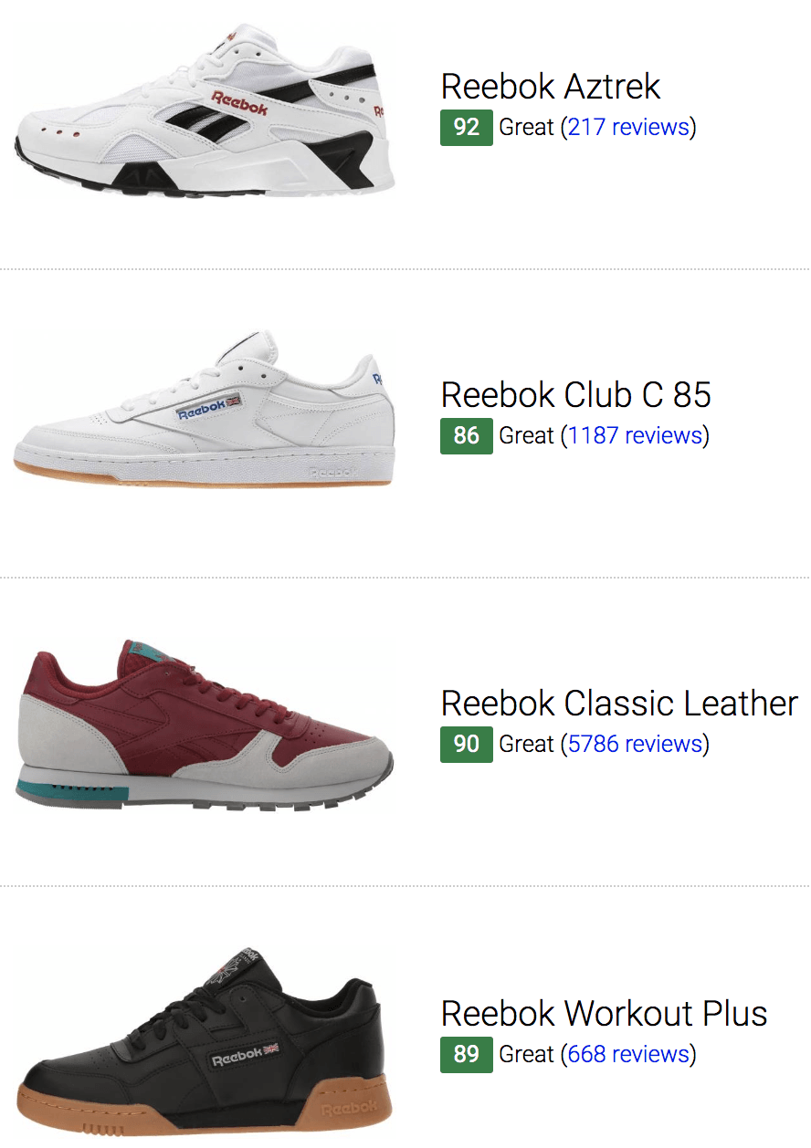 reebok shoes models