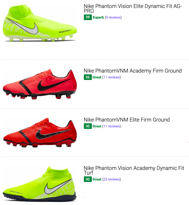 best nike phantom vision soccer cleats