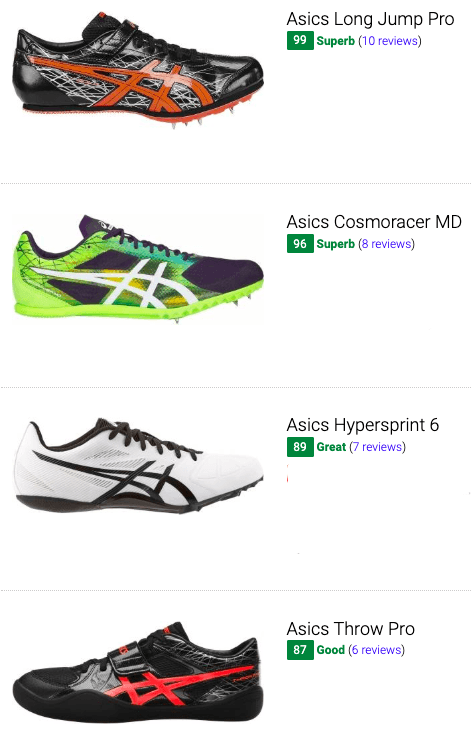 best asics track and field shoes
