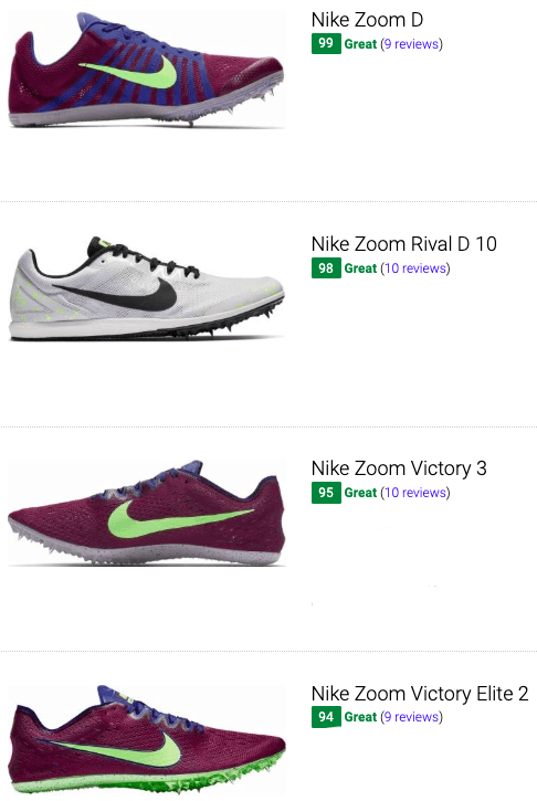 best nike long distance track and field shoes
