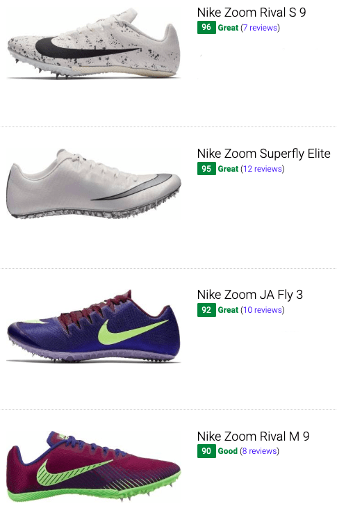 best nike sprint track and field shoes
