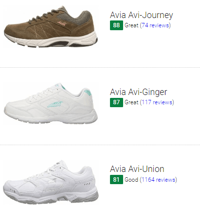 best avia walking shoes