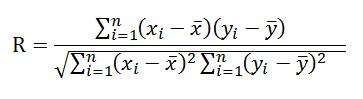 correlation coefficient formula for linear connection between two variables